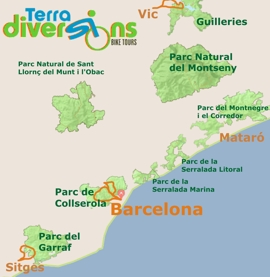Map of the Penedes Priorat Bike Tour